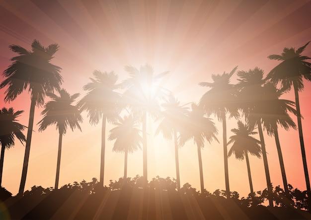 Paysage de palmiers contre un ciel coucher de soleil Vecteur gratuit