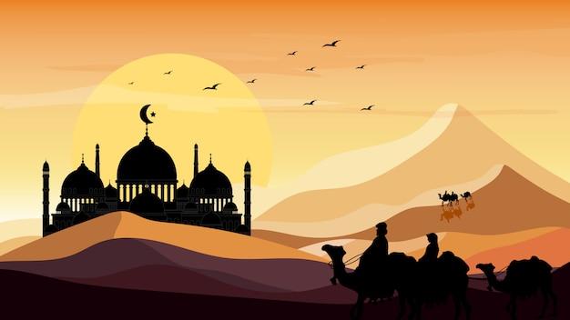 Paysage panoramique du voyage d'arabie avec des chameaux à travers le désert avec une silhouette de mosquée et fond de coucher de soleil Vecteur Premium