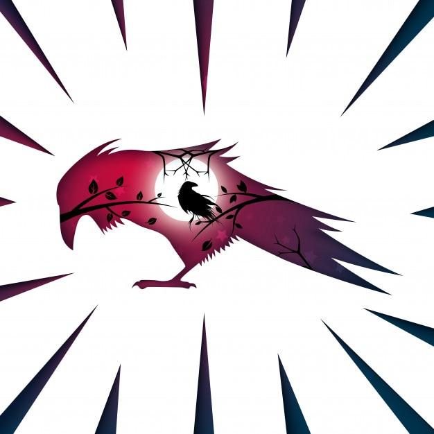 Paysage de papier de dessin animé. corbeau, illustration de corbeau Vecteur Premium