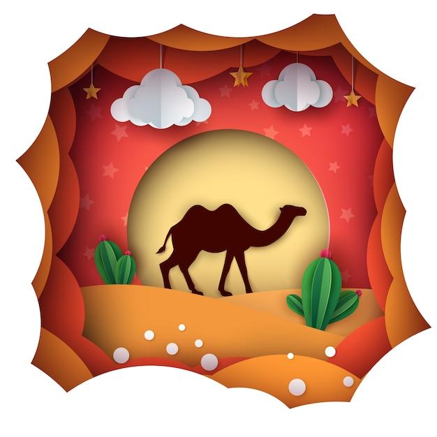 Paysage de papier de dessin animé. illustration de chameau. Vecteur Premium