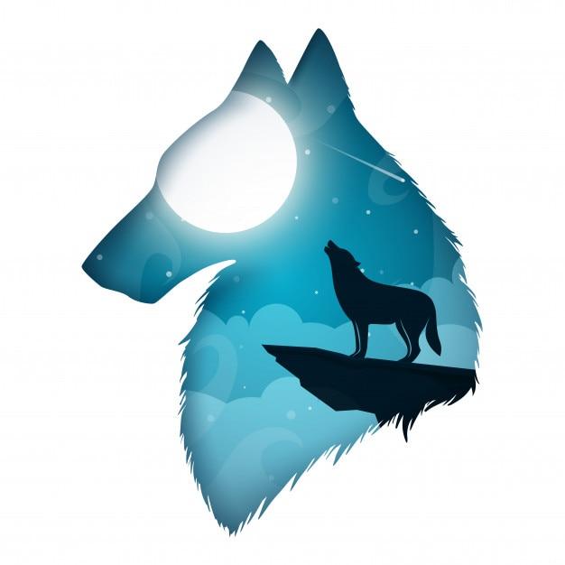 Paysage de papier dessin animé wolf illustration. Vecteur Premium