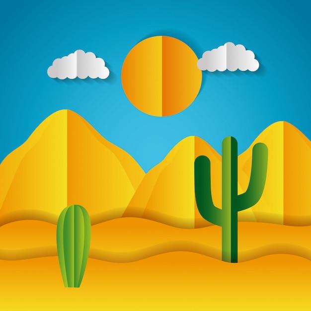 Paysage en papier origami d'un désert Vecteur gratuit
