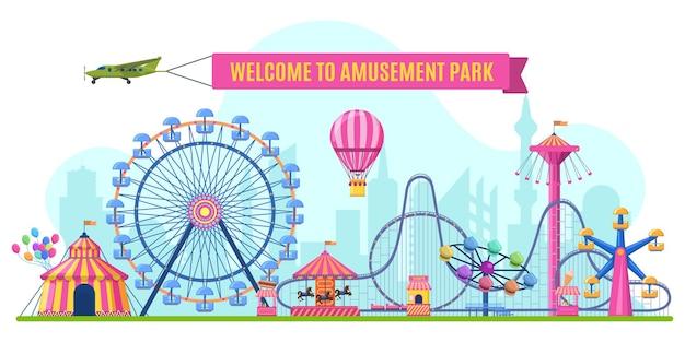 Paysage De Parc D'attractions. Parc D'attractions Grande Roue, Montagnes Russes Et Carrousel De Carnaval. Vecteur Premium