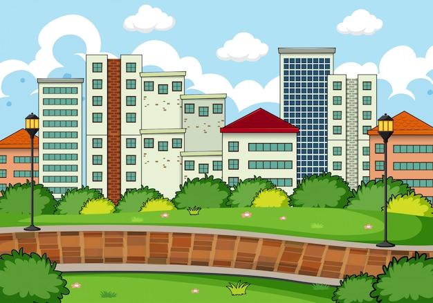 Un paysage de parc simple Vecteur gratuit