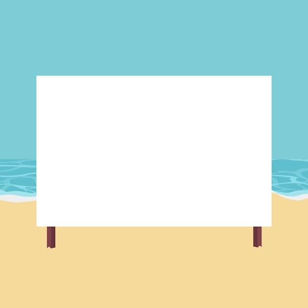 Paysage de plage avec carte à écrire Vecteur Premium
