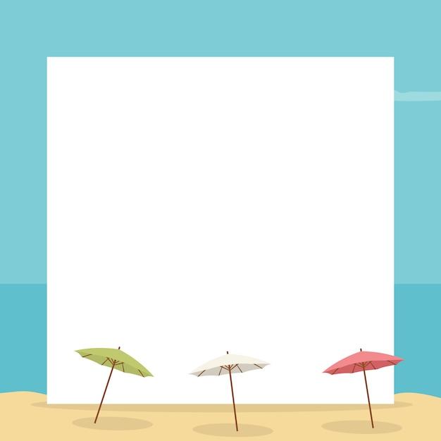 Paysage de plage avec carte pour écrire avec des parapluies Vecteur Premium