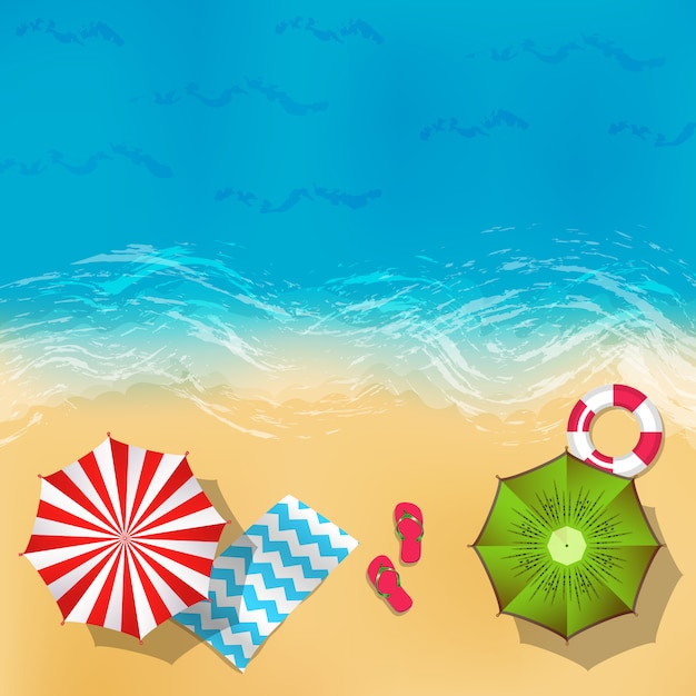 Paysage De Plage D'été De Vecteur Avec Du Sable, De L'eau, Des Parapluies Et Des Couvertures Illustration De Fond Vecteur Premium