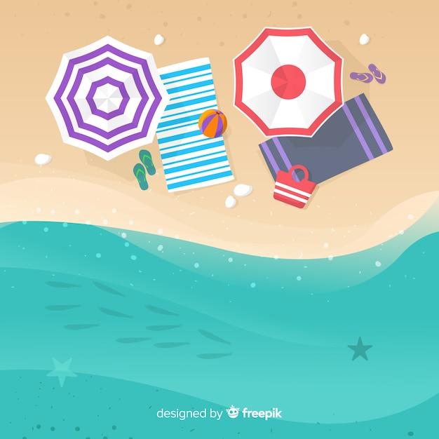Paysage de plage de vecteur de fond tropical Vecteur gratuit