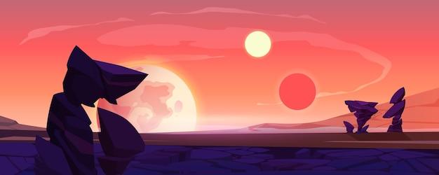 Paysage De Planète Extraterrestre, Surface Du Désert Au Crépuscule Ou à L'aube Avec Montagnes, Rochers, Satellite Et Deux Soleils Qui Brillent Sur Le Ciel Orange. Fond De Jeu D'ordinateur Extraterrestre De L'espace, Illustration Vectorielle De Dessin Animé Vecteur gratuit