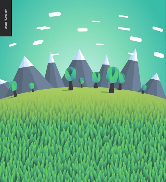 Paysage Plat Illustré De Montagnes Et D'arbres Vecteur Premium