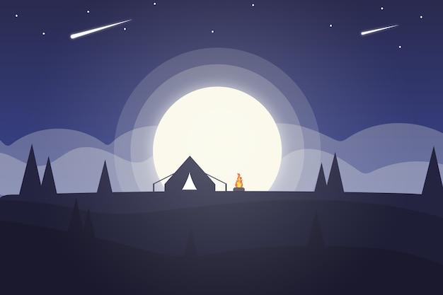 Paysage La Pleine Lune La Nuit Est Si Beau Vecteur Premium