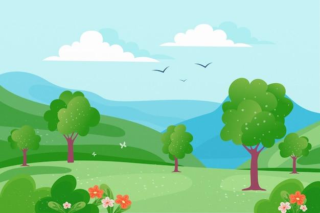 Paysage De Printemps Avec Des Arbres Et Des Oiseaux Dans Le Ciel Vecteur gratuit