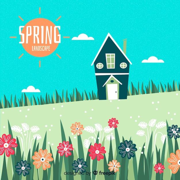 Paysage de printemps sur le terrain dessiné à la main Vecteur gratuit