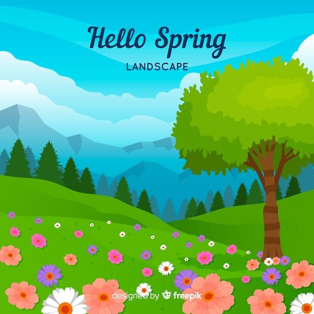 Paysage de printemps Vecteur gratuit