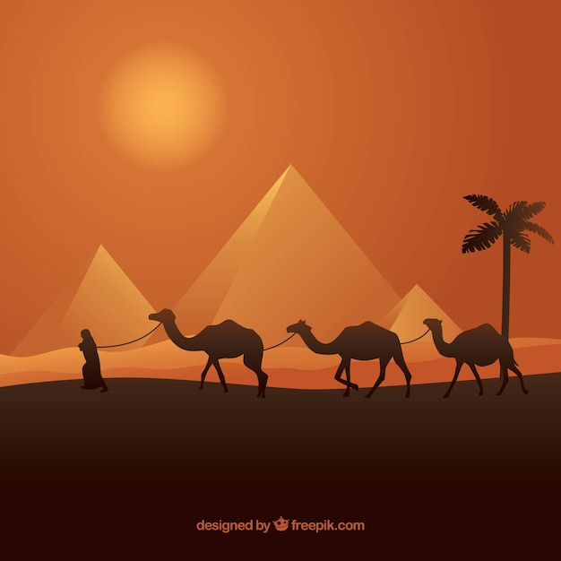 Paysage de pyramide avec caravane Vecteur gratuit