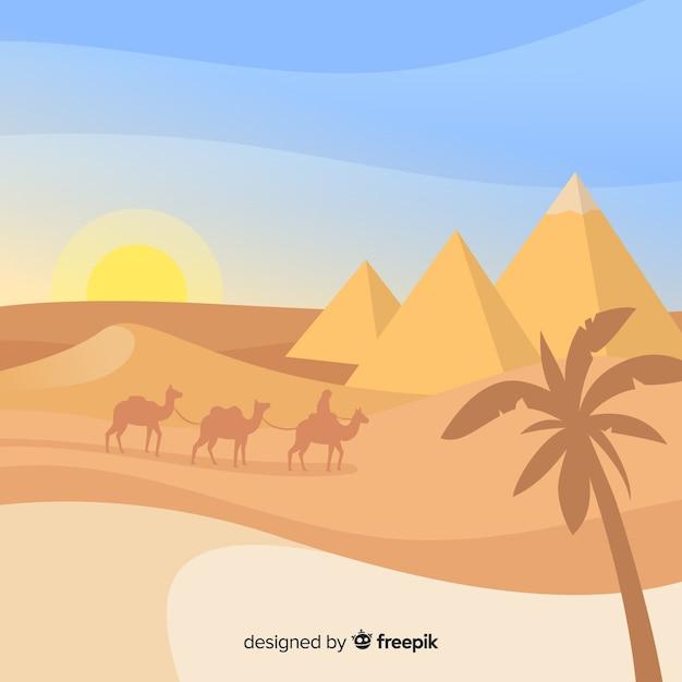 Paysage de pyramides d'égypte plat avec caravane de chameaux Vecteur gratuit