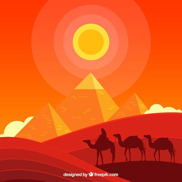 Paysage De Pyramides égyptiennes Avec La Caravane De Chameaux Vecteur gratuit