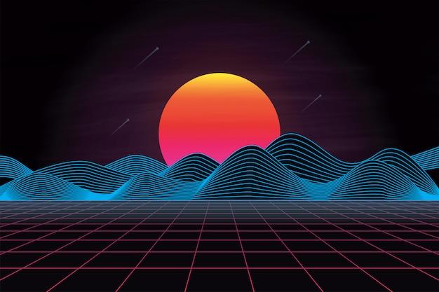 Paysage rétro futuriste des années 80 avec soleil et montagne Vecteur Premium