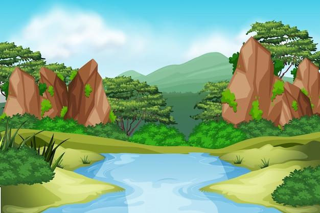 Paysage de rivière environnement Vecteur Premium