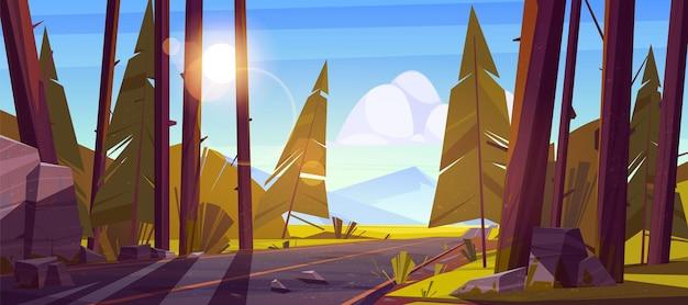 Paysage Avec Route à Travers La Forêt Et Les Montagnes à L'horizon. Vecteur gratuit