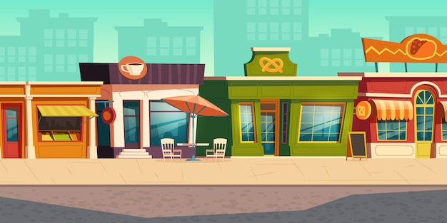 Paysage De Rue Urbaine Avec Petite Boutique, Restaurant Vecteur gratuit