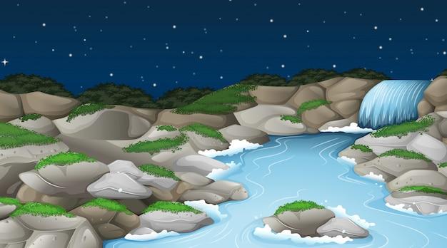 Un paysage de ruisseau nature Vecteur gratuit