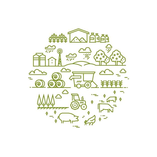 Paysage rural et agriculture agriculture icônes de fine ligne Vecteur Premium