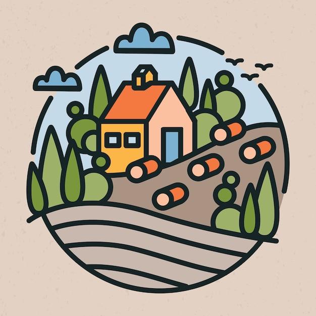 Paysage Rural Ou De Campagne, Bâtiment De Ferme, Collines Et Champ Dans Un Style D'art En Ligne Moderne Vecteur Premium