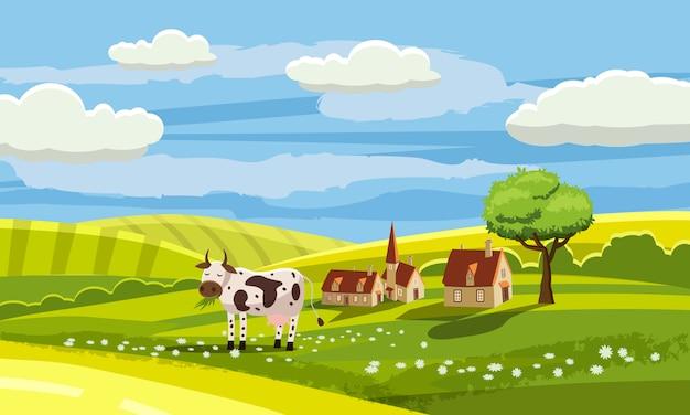 Paysage Rural Charmant Pays, Vache Pâturage, Ferme, Fleurs, Pâturage, Style De Bande Dessinée, Illustration Vectorielle Vecteur Premium