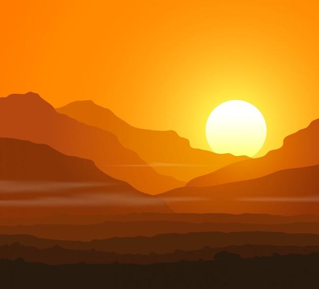 Paysage sans vie avec d'énormes montagnes au coucher du soleil Vecteur Premium