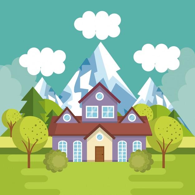 Paysage avec scène de maison Vecteur gratuit