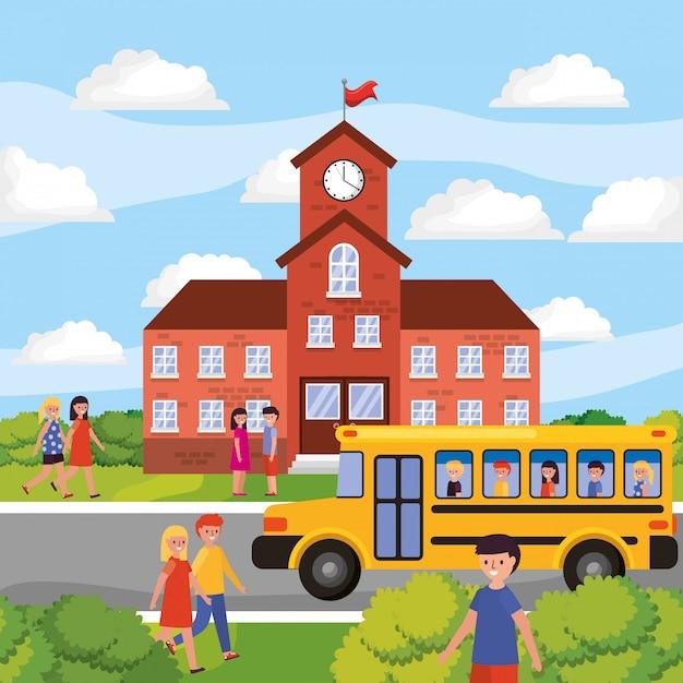 Paysage scolaire avec bus jaune Vecteur Premium