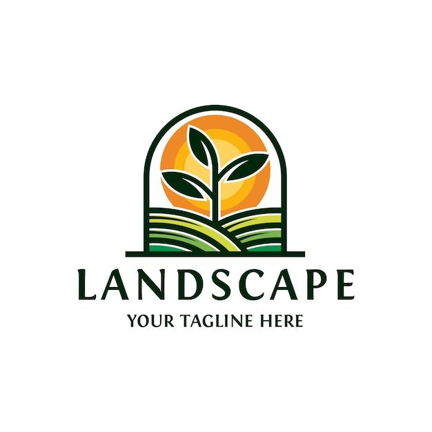 Paysage Soleil Plante Logo Vecteur Premium
