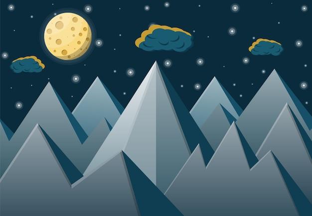 Paysage Spatial Avec Montagnes Et Pleine Lune. Vecteur Premium