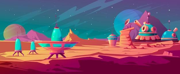 Paysage De Surface De Mars Avec Des Bâtiments De Colonie Vecteur gratuit