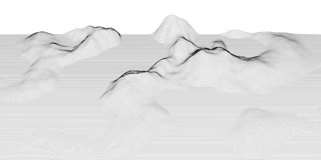Paysage Techno Abstrait Avec Filaire 1504 Vecteur gratuit