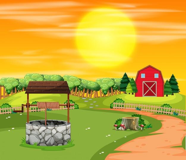 Un paysage de terres agricoles au coucher du soleil Vecteur gratuit