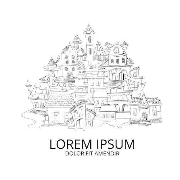 Paysage urbain abstrait avec des gribouillis dessinés à la main d'encre européenne à la maison Vecteur Premium