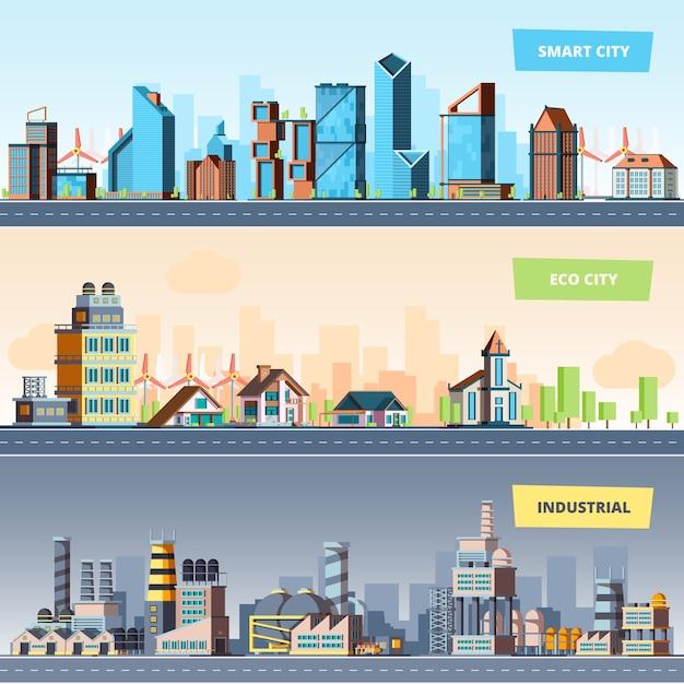 Paysage Urbain. Bannières Plates De La Pollution De L'air Des Bâtiments Modernes De La Ville Industrielle Intelligente Et écologique Vecteur Premium