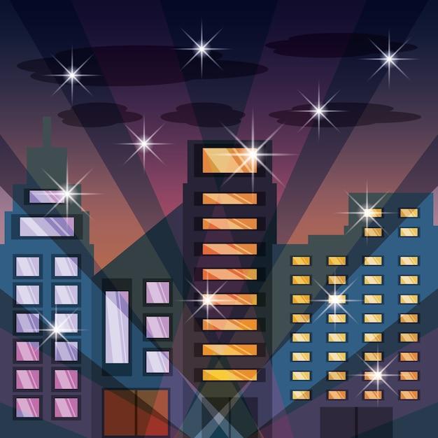 Paysage Urbain Avec Batiment Dans La Nuit