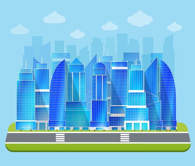 Paysage urbain de bureau Vecteur gratuit