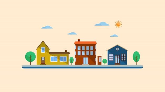 Paysage urbain design plat Vecteur Premium