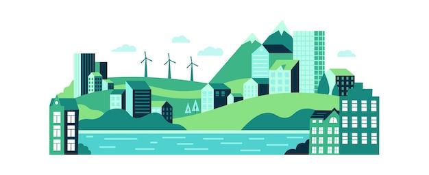 Paysage Urbain écologique Avec Des Bâtiments, Des Collines Et Des Montagnes. Vecteur Premium