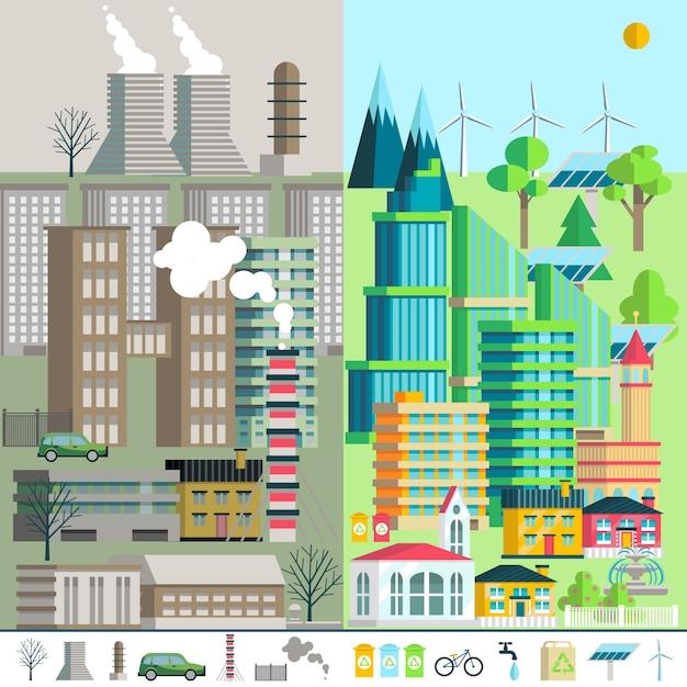 Paysage urbain, environnement, écologie, éléments d'infographie. Vecteur gratuit