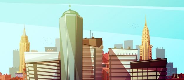 Paysage urbain de manhattan avec le world trade center chrysler et les bâtiments de l'empire state Vecteur gratuit
