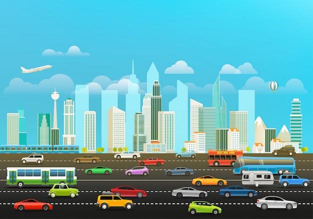 Paysage urbain moderne avec gratte-ciels et différents véhicules Vecteur Premium