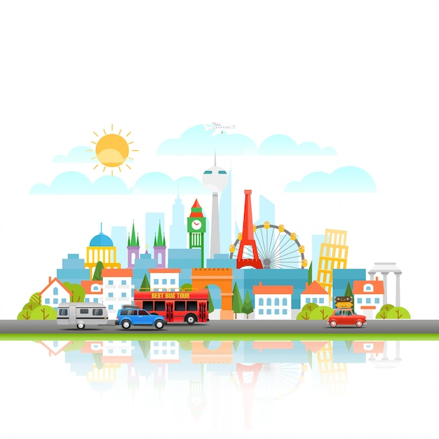 Paysage urbain moderne avec véhicule différent. illustration vectorielle concept de voyage Vecteur Premium