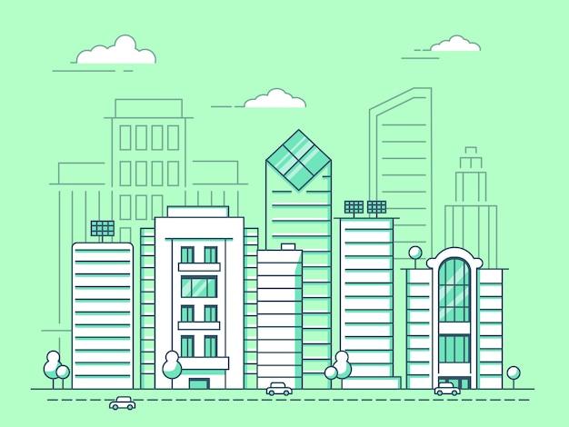 Paysage urbain mono-ligne avec des bâtiments commerciaux, architecture de contour linéaire de construction Vecteur Premium