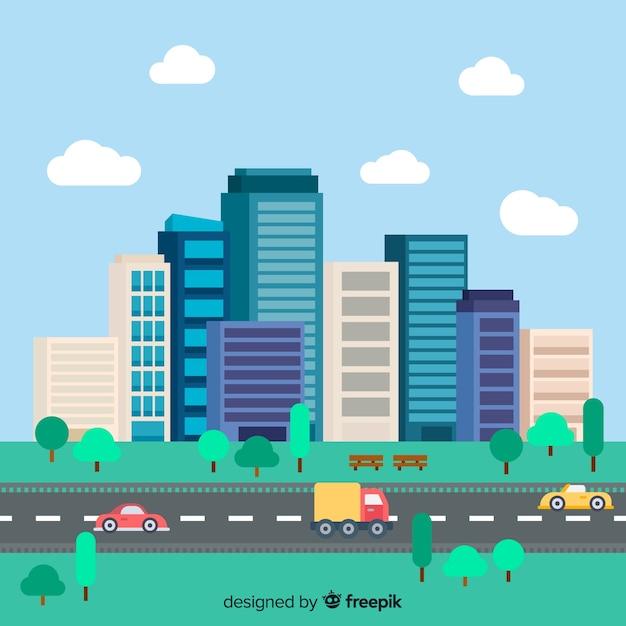 Paysage urbain plat avec des immeubles de bureaux Vecteur gratuit