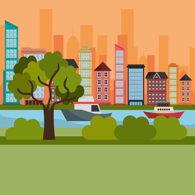 Paysage urbain et rivière Vecteur gratuit